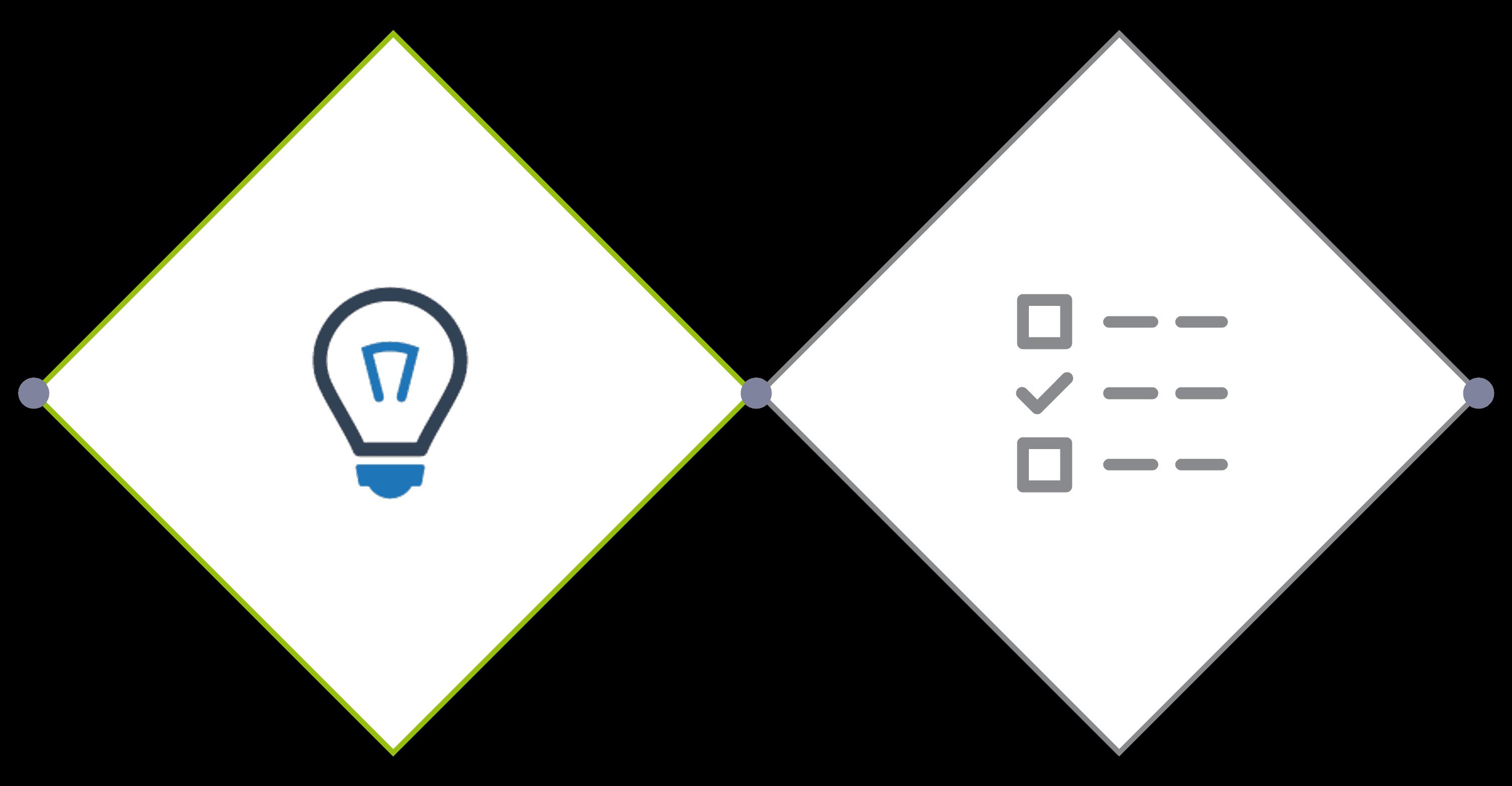 Ein Symbolbild zum Thema IT Consulting zeigt eine Raute mit einer Glühbirne in der Mitte.